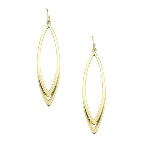 Almond Drop Earrings, Gold, 2-1/2-Inch