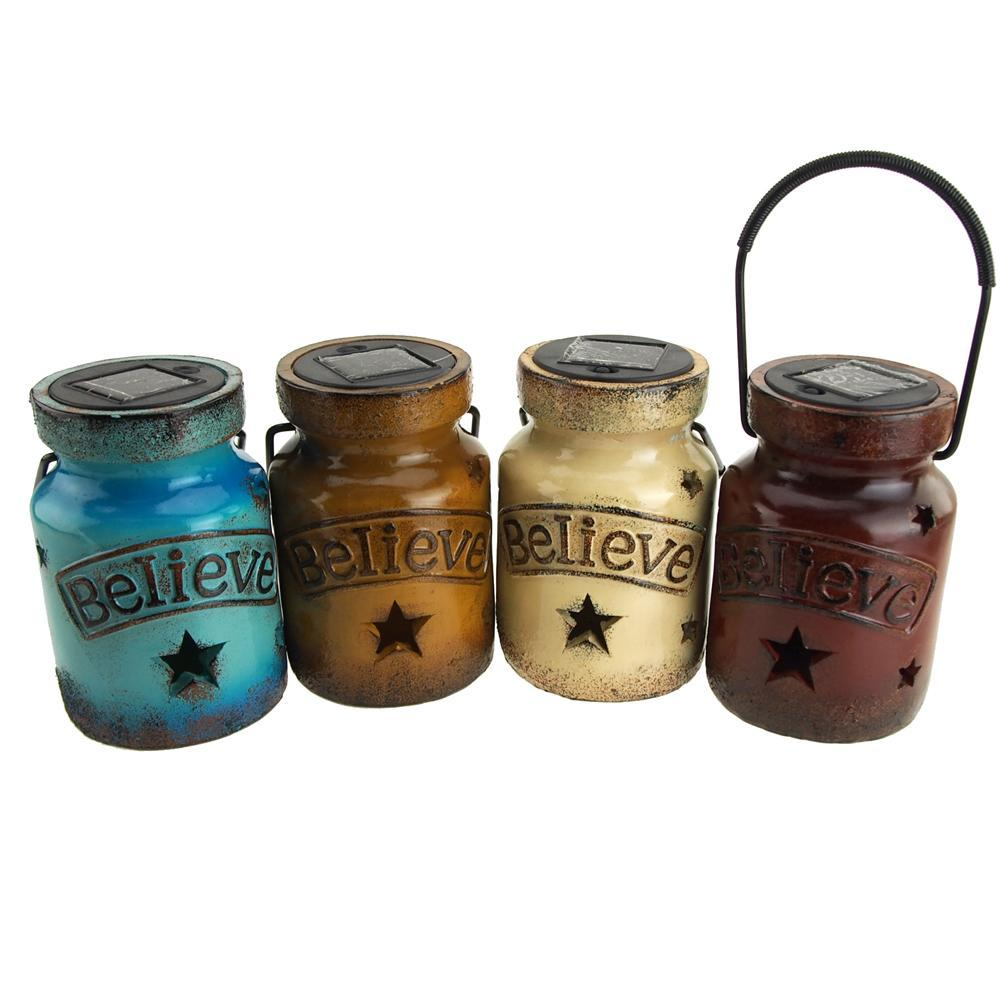 Ceramic Solar Jar with Believe Sign, Assorted Color, 6-Inch