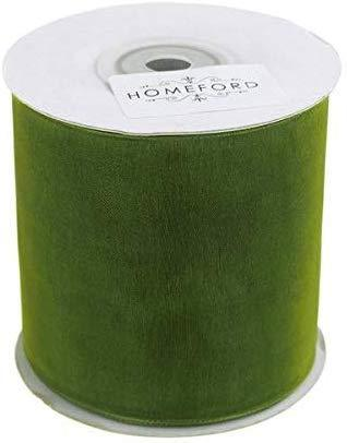 Plain Sheer Organza Ribbon, 2-3/4-inch, 25 Yards, Moss Green