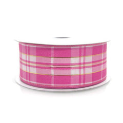 Plaid Checkered Wired Edge Christmas Ribbon, 1-1/2-inch, 10-yard