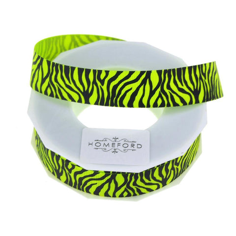 Neon Zebra Striped Grosgrain Ribbon, 7/8-Inch, 10 Yards, Key Lime