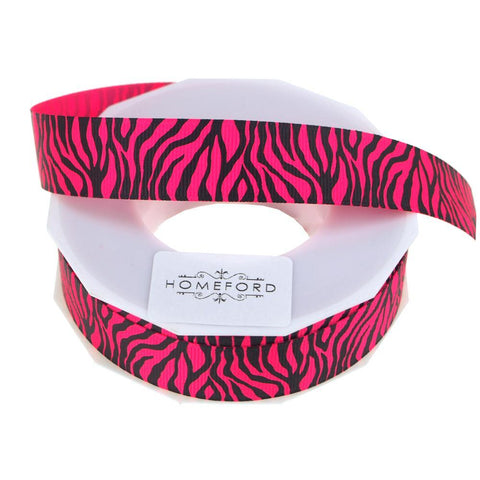 Neon Zebra Striped Grosgrain Ribbon, 7/8-Inch, 10 Yards, Hot Pink