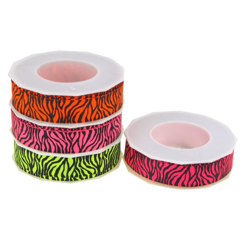 Neon Zebra Striped Grosgrain Ribbon, 7/8-Inch, 10 Yards