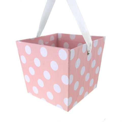 Cardboard Paper Market Tray, Polka Dot Pink, 5-Inch