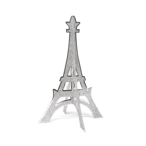 3D Glittered Eiffel Tower Stand, Silver, 12-Inch