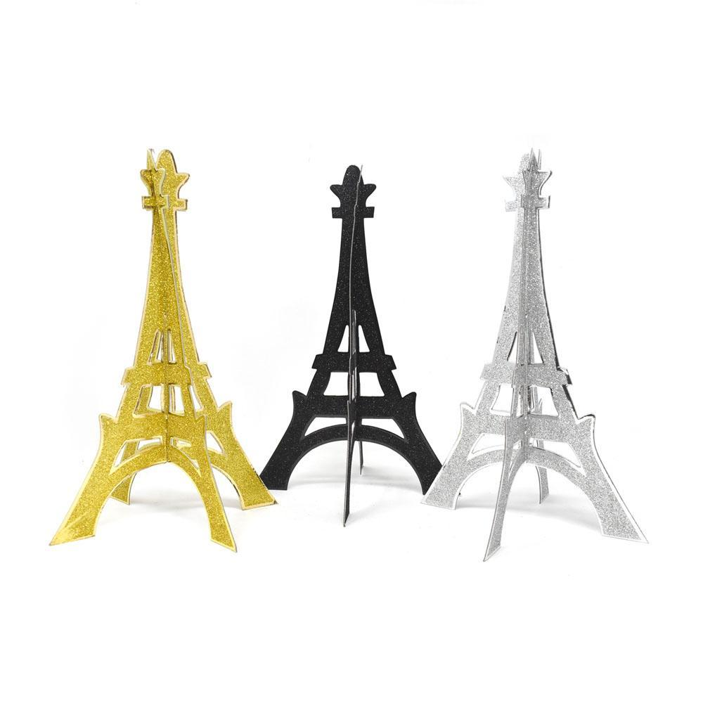 3D Glittered Eiffel Tower Stand, 12-Inch