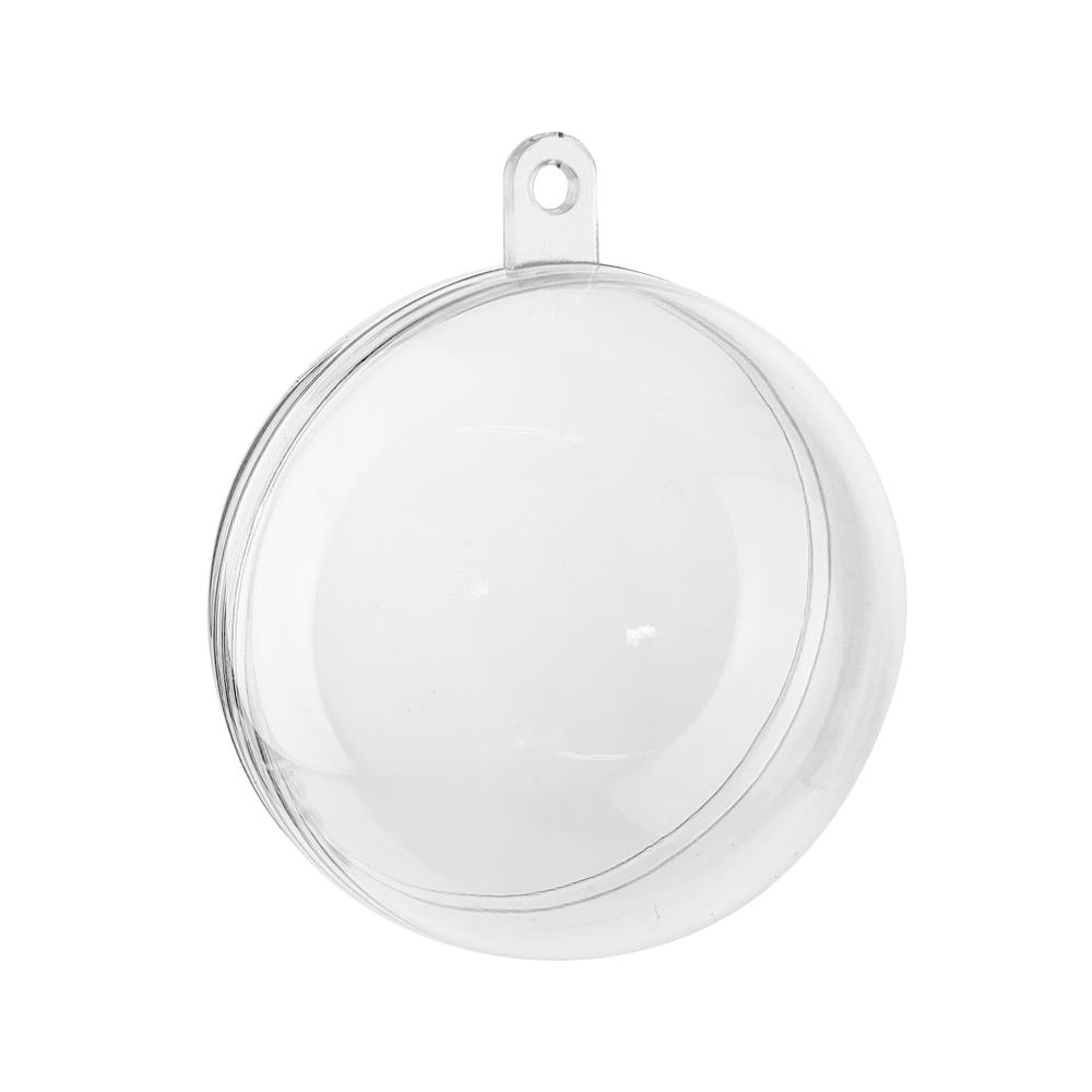 Fillable Plastic Clear Ball Ornament, 2-Inch, 12-Count