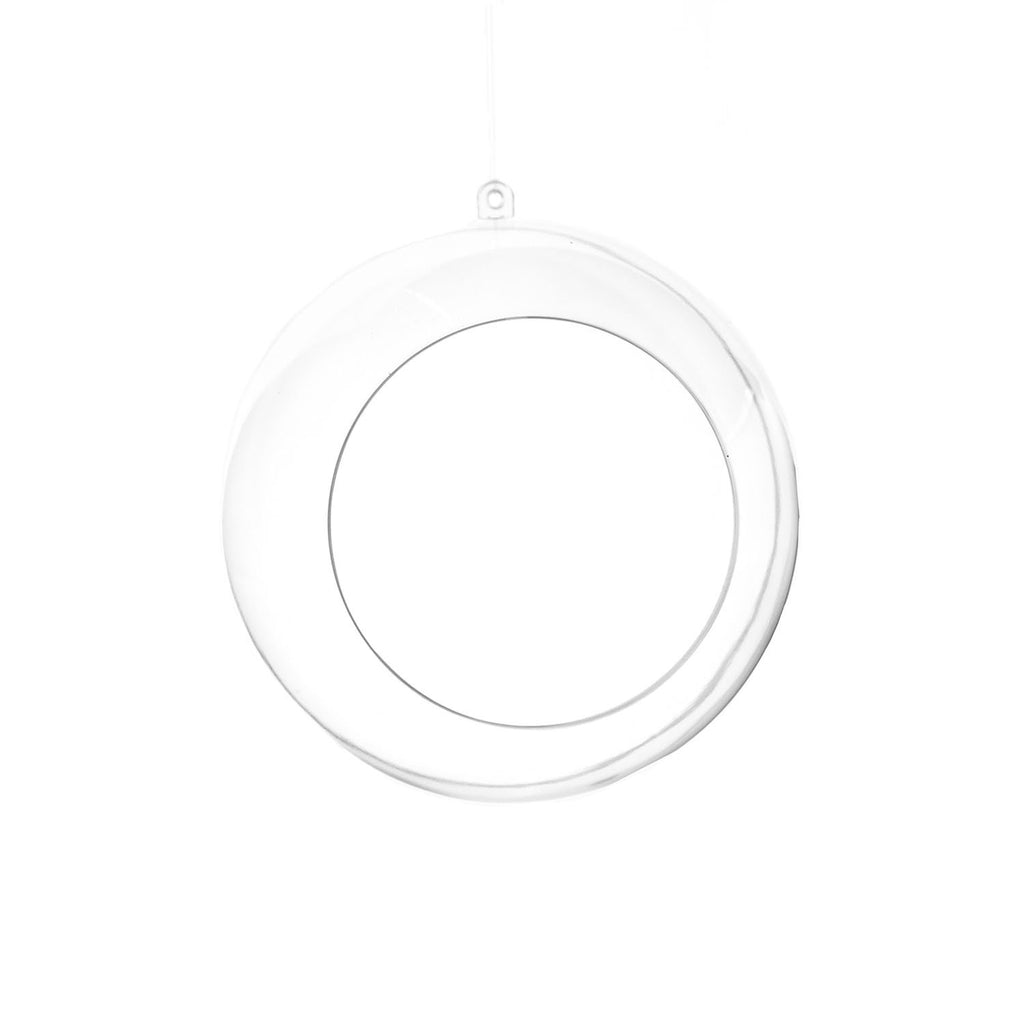 Fillable Plastic Clear Ball Ornament With Opening, 4-3/4-Inch, 6-Count