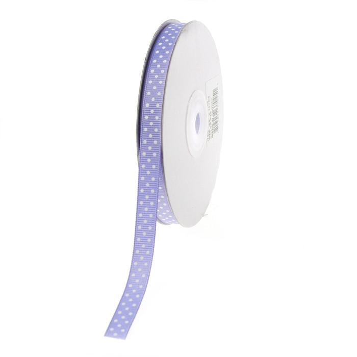 Swiss Dots Grosgrain Ribbon, 3/8-inch, 25-yard, Iris