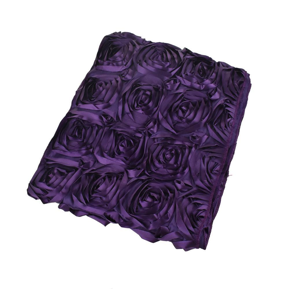 Satin Rosette Table Runner with Serged Edge, Eggplant, 14-Inch x 108-Inch