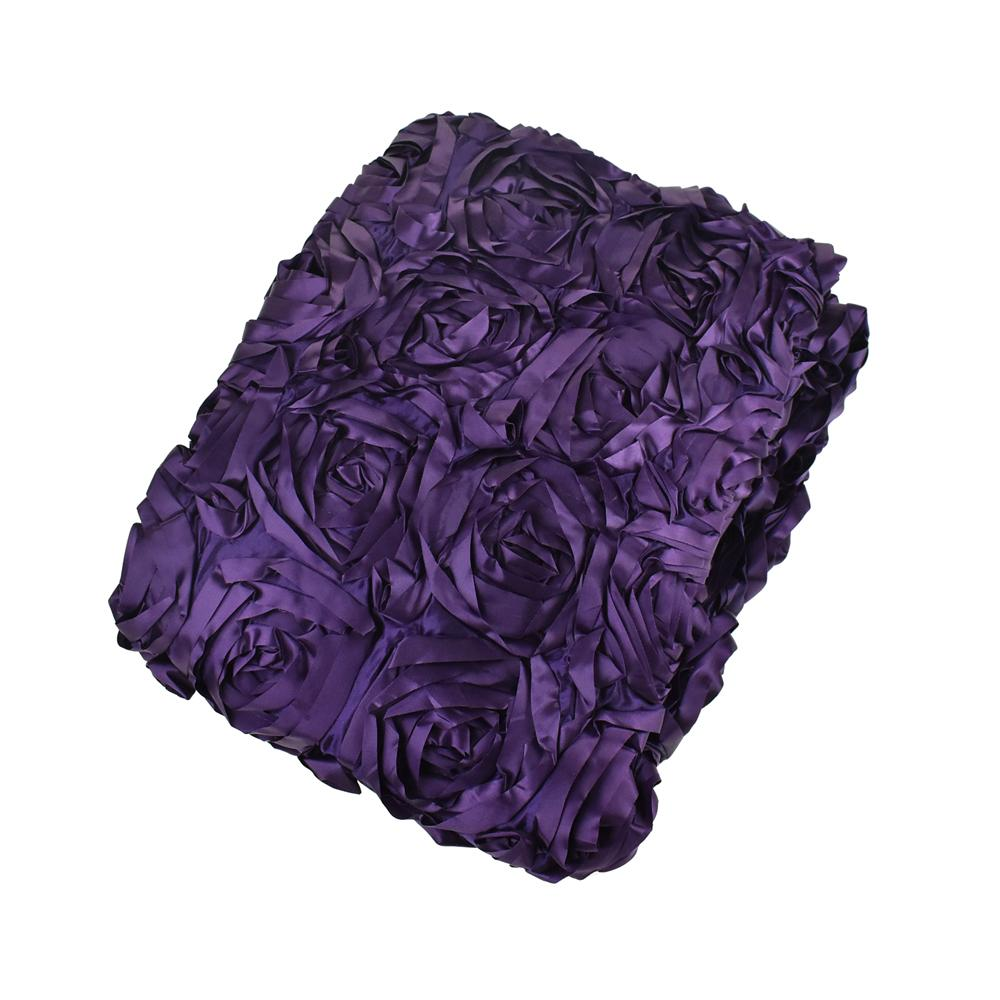 Satin Rosette Table Runner with Serged Edge, Eggplant, 72-Inch x 72-Inch