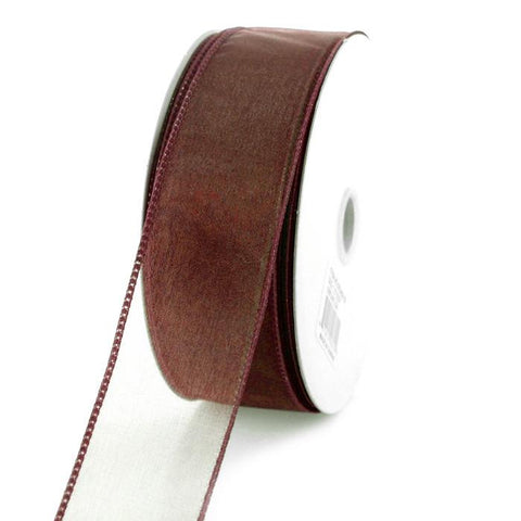 Sheer Chiffon Ribbon Wired Edge, 1-1/2-inch, 25-yard, Brown