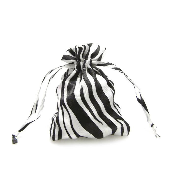 Zebra Stripe Satin Favor Bags, White/Black, 3-Inch x 4-Inch, 12-Piece