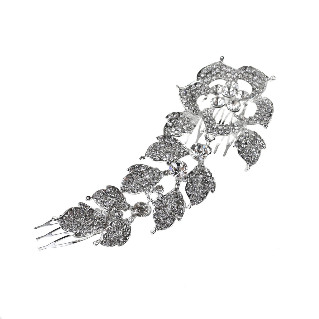 Large Floral Rhinestone Hair Broach, Silver, 6-Inch