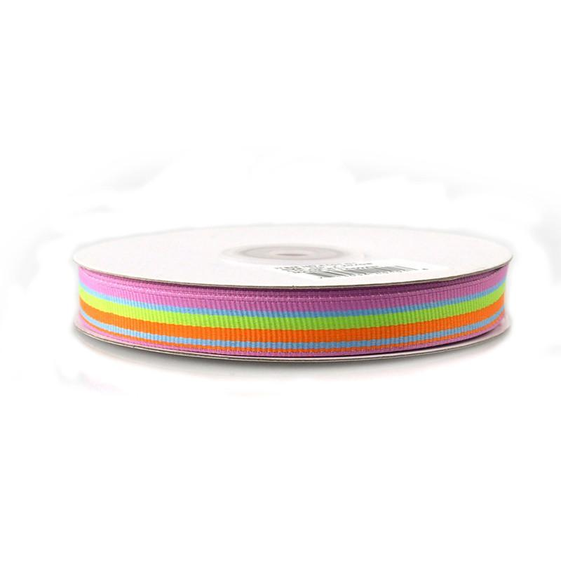 Rainbow Striped Grosgrain Ribbon, 5/8-Inch, 25 Yards, Blue/Green/Orange/Azalea