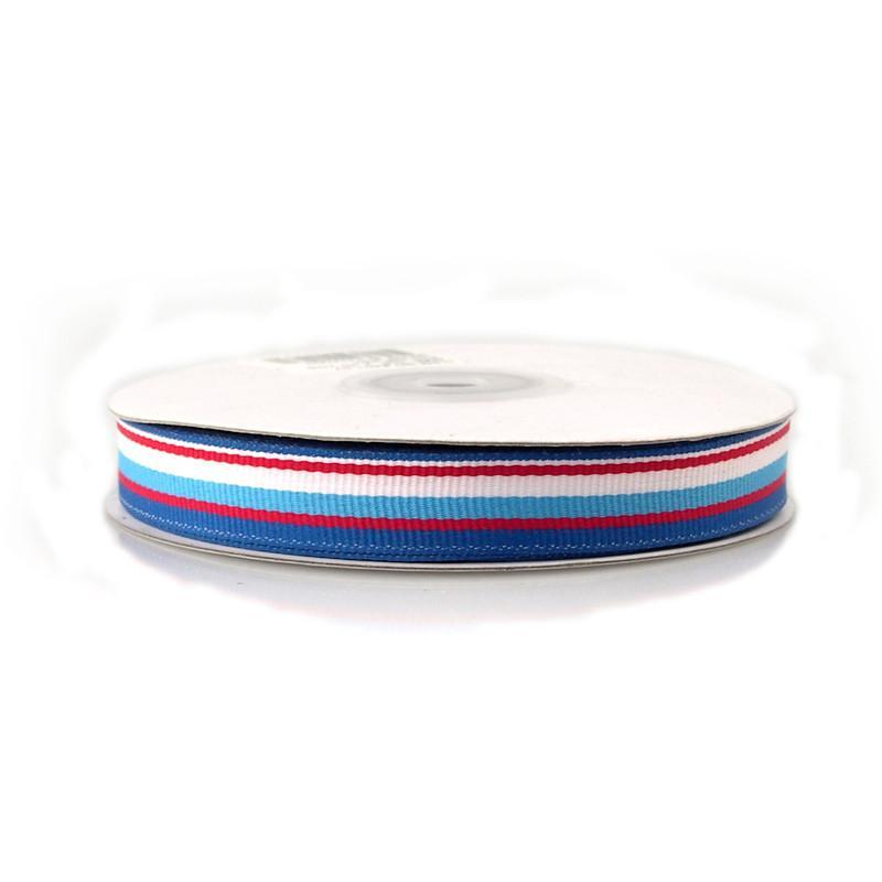 Rainbow Striped Grosgrain Ribbon, 5/8-Inch, 25 Yards, Blue/Royal Blue/Red/White