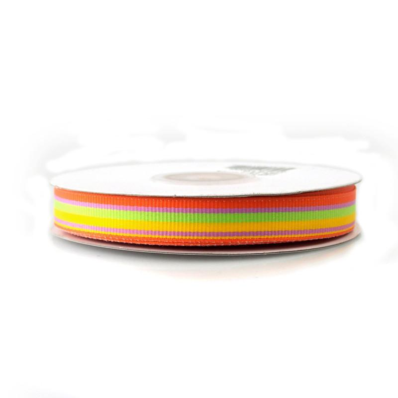 Rainbow Striped Grosgrain Ribbon, 5/8-Inch, 25 Yards, Orange/Mint/Yellow/Azalea