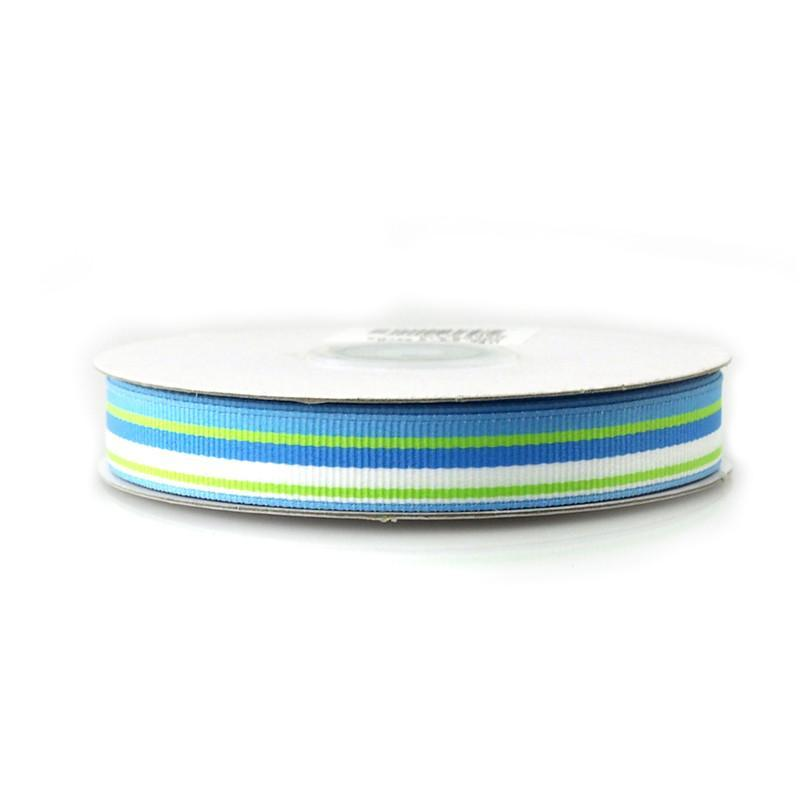 Rainbow Striped Grosgrain Ribbon, 5/8-Inch, 25 Yards, Blue/White/Mint