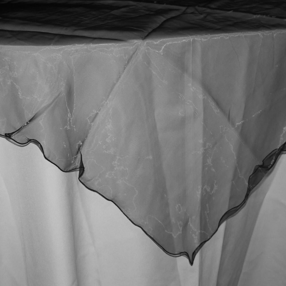 Organza Table Cover Overlay, 80-inch, Black