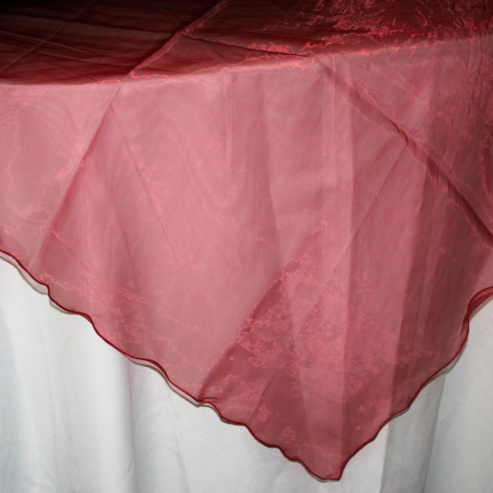 Organza Table Cover Overlay, 80-inch, Burgundy
