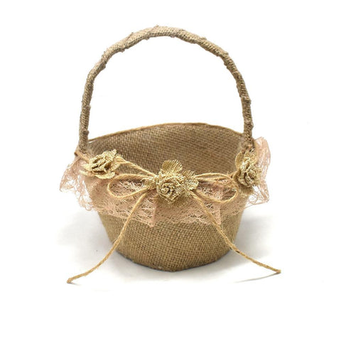 Burlap 3-Rose Flower Girl Basket, Natural, 8-Inch