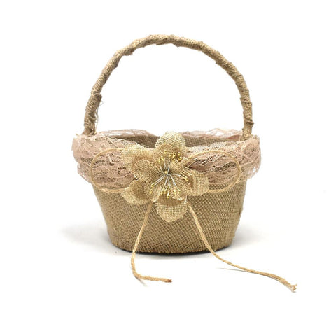 Burlap Single Rose Flower Girl Basket, Natural, 7-1/2-Inch