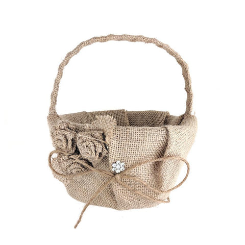Burlap Roses and Rhinestone Flower Girl Basket, 7-1/2-Inch, Natural