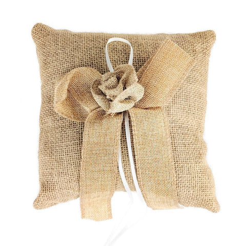 Burlap Flower and Bow Ring Bearer Pillow, 7-Inch, Natural