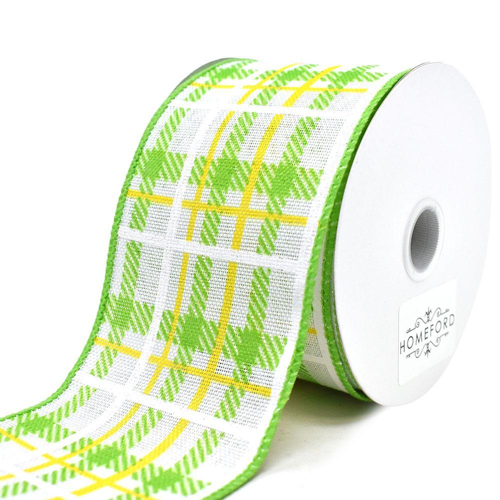 Iridescent Plaid Linen Wired Ribbon, Lime/Yellow. 2-1/2-Inch, 10-Yard