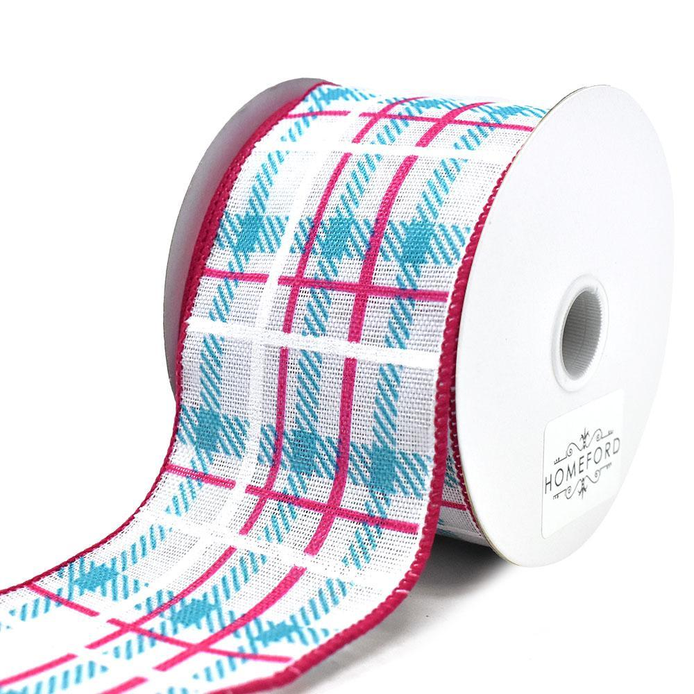 Iridescent Plaid Linen Wired Ribbon, Turquoise/Fuchsia. 2-1/2-Inch, 10-Yard