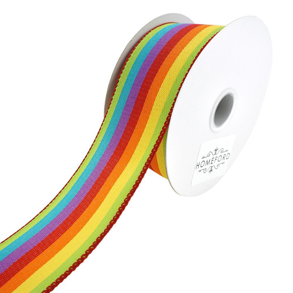 Vertical Rainbow Woven Strips Wired Ribbon, 1-1/2-Inch, 10-Yard