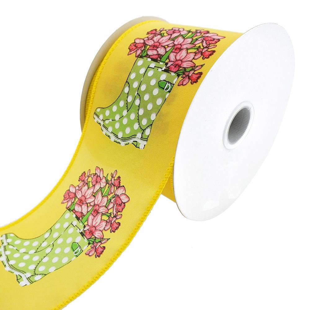 Rain Boots With Daffodils Satin Wired Ribbon, 2-1/2-Inch, 10-Yard, Yellow/Lime