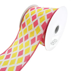Two Toned Harlequin Wired Linen Ribbon, 2-1/2-Inch, 10-Yard