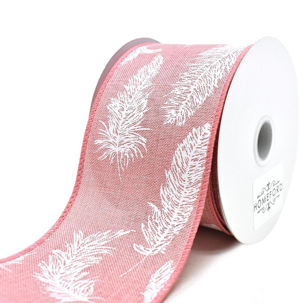 Feathers Linen Wired Ribbon, Blush, 2-1/2-Inch, 10-Yard