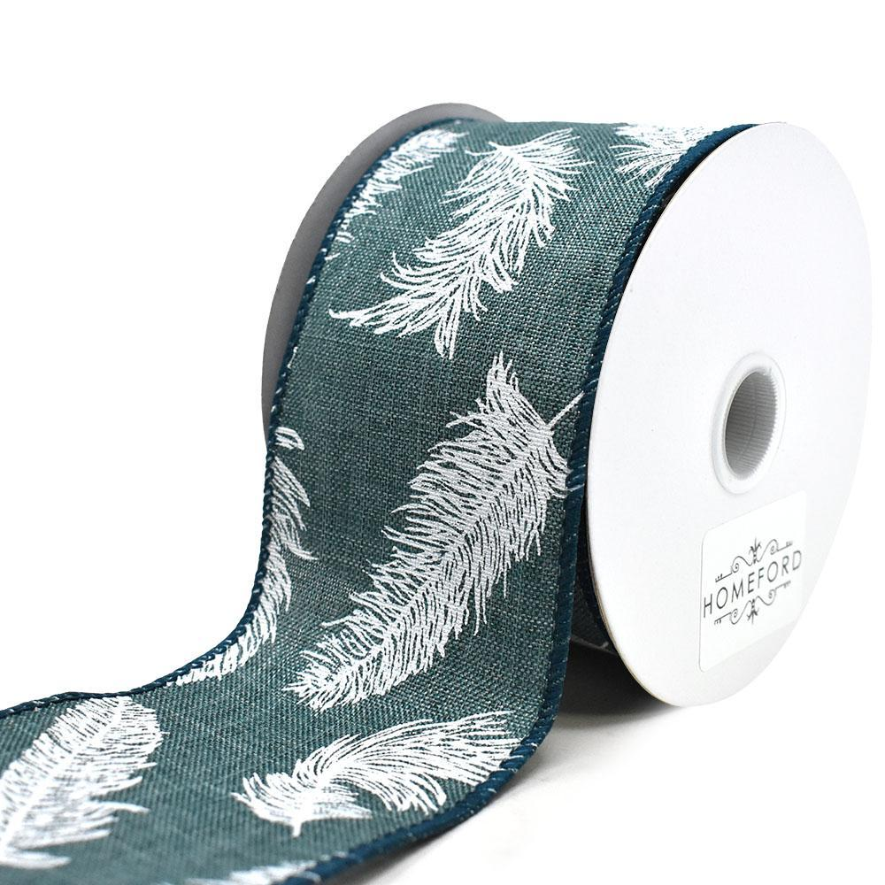 Feathers Linen Wired Ribbon, Dark Teal, 2-1/2-Inch, 10-Yard