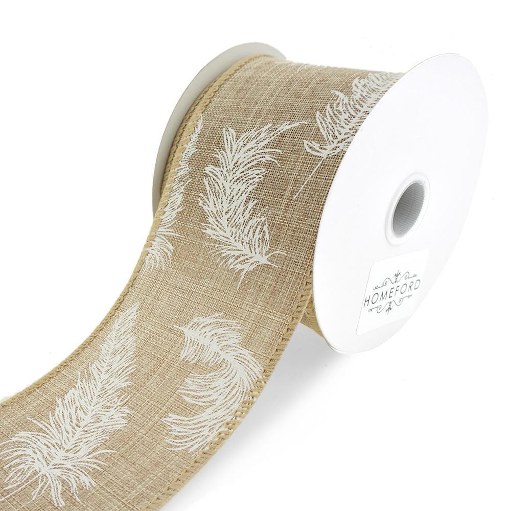Feathers Linen Wired Ribbon, Natural, 2-1/2-Inch, 10-Yard