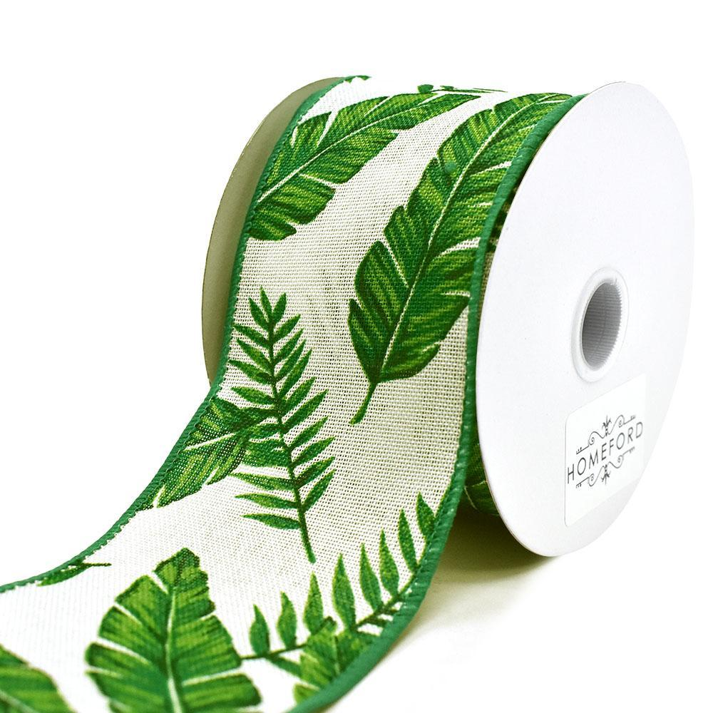 Tropical Leaves Linen Wired Ribbon, Cream, 2-1/2-Inch, 10-Yard