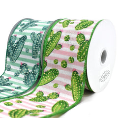 Cactus and Stripes Linen Wired Ribbon, 2-1/2-Inch, 10-Yard