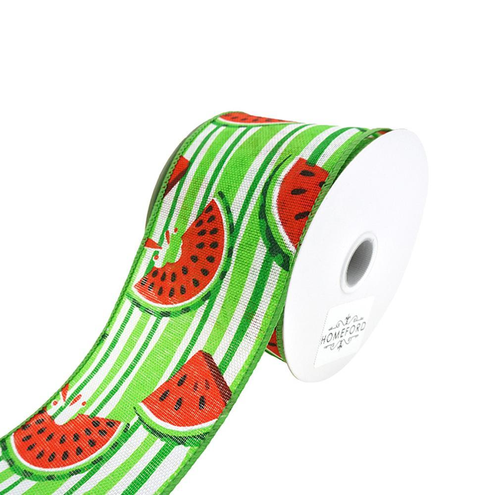 Juicy Watermelons And Stripes Wired Ribbon, 2-1/2-Inch, 10-Yard