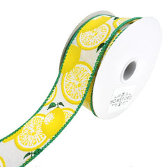 Bright Printed Lemons Wired Linen Ribbon, 1-1/2-Inch, 10-Yard