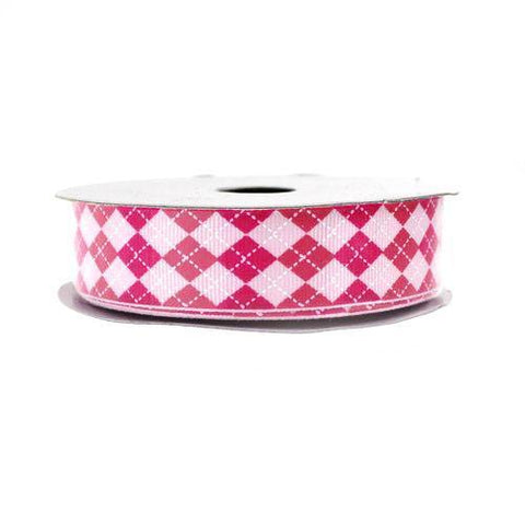 Argyle Grosgrain Ribbon, 7/8-Inch, 10 Yards, Pink