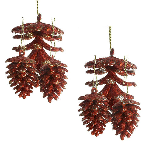 Christmas Glitter Pine Cone Ornaments, Red, 14-Piece