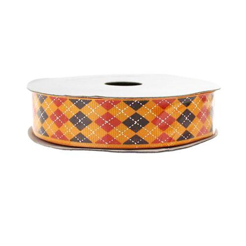 Argyle Grosgrain Ribbon, 7/8-Inch, 10 Yards, Orange