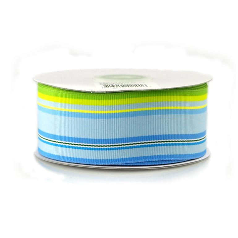 Rainbow Striped Grosgrain Ribbon, 1-1/2-Inch, 25 Yards, Multi-Light Blue