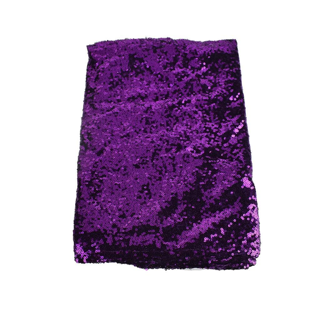Sparkling Sequins Fabric Table Runner, 14-Inch x 108-Inch, Purple