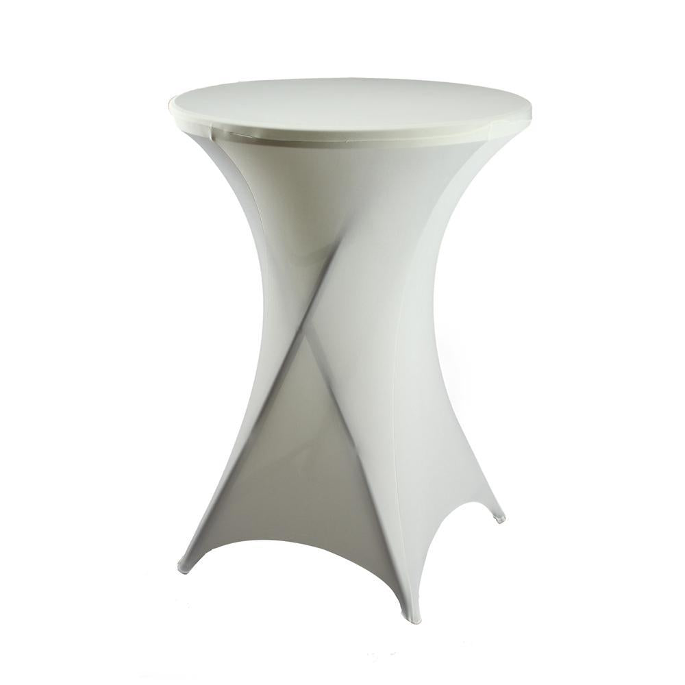 Round Spandex Cocktail Table Cover, 31-Inch, Ivory