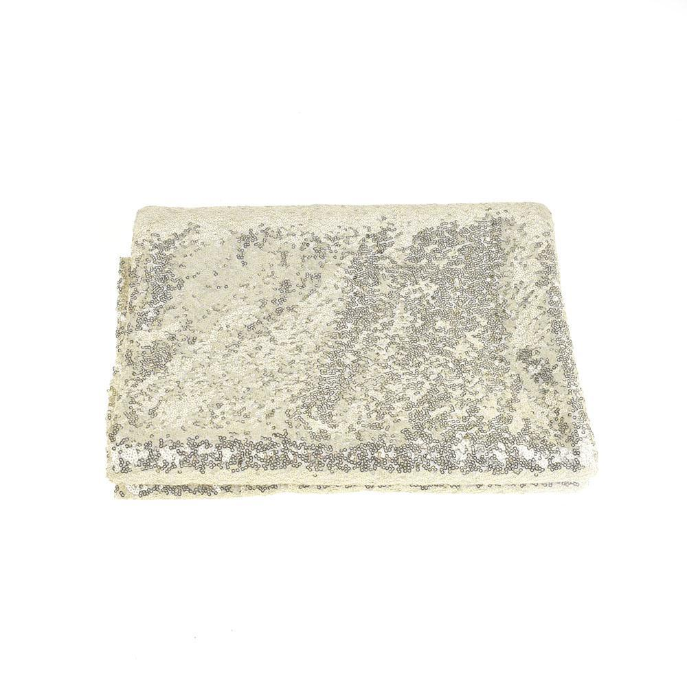 Round Sequin Tablecloth Cover, Champagne, 118-Inch