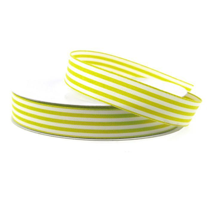 Striped Cotton Ivory Ribbon, 7/8-inch, 25-yard, Green