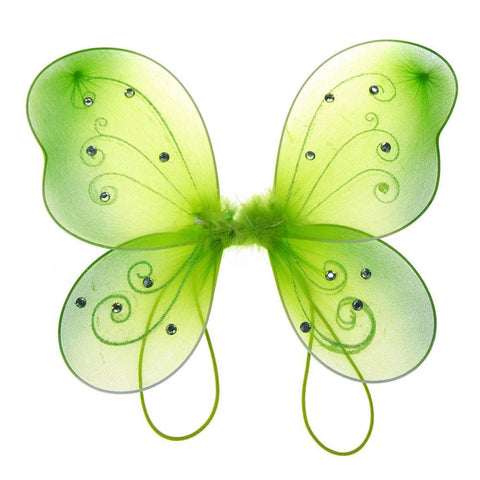 Organza Nylon Butterfly Wings with Glitters, 12-Inch, Apple Green