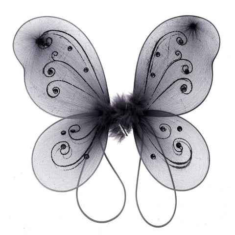Organza Nylon Butterfly Wings with Glitters, 12-Inch, Black